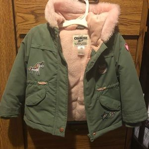 Osh Kosh patched coat with pink fur hood